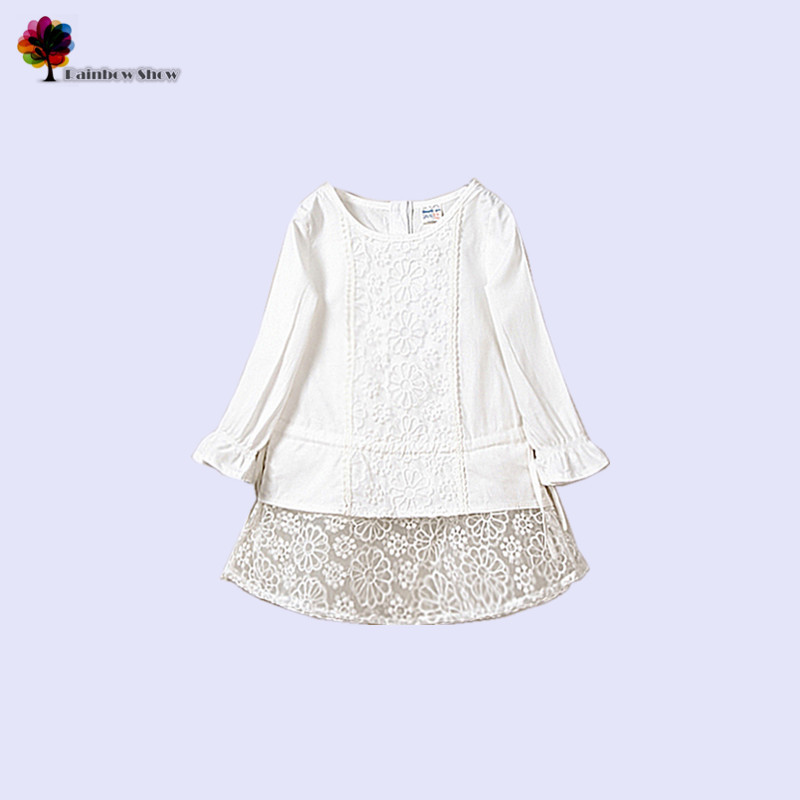 2015 New Children Clothing Spring Summer Girls Elegant Lovely Lace Cotton Floral Baby Princess Blouse(China (Mainland))