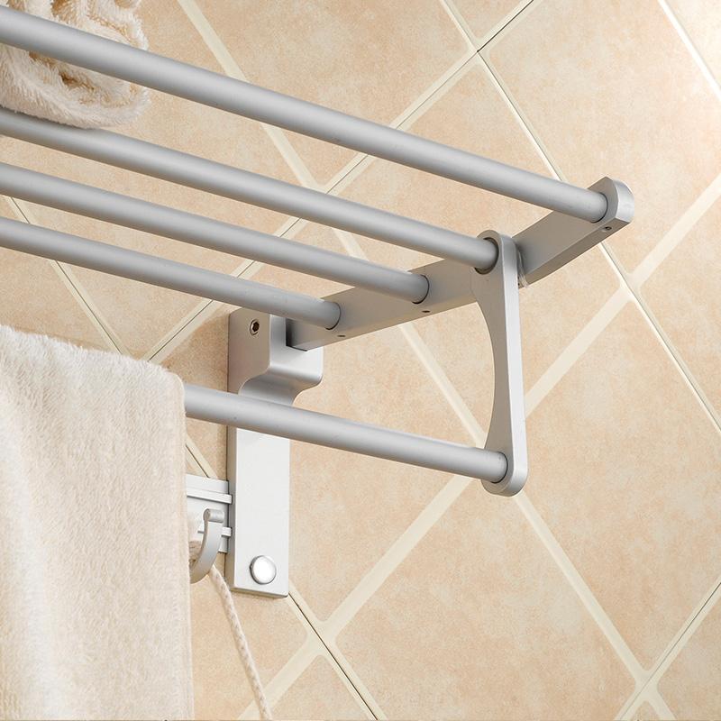 towel rack space aluminum folding towel bathroom double