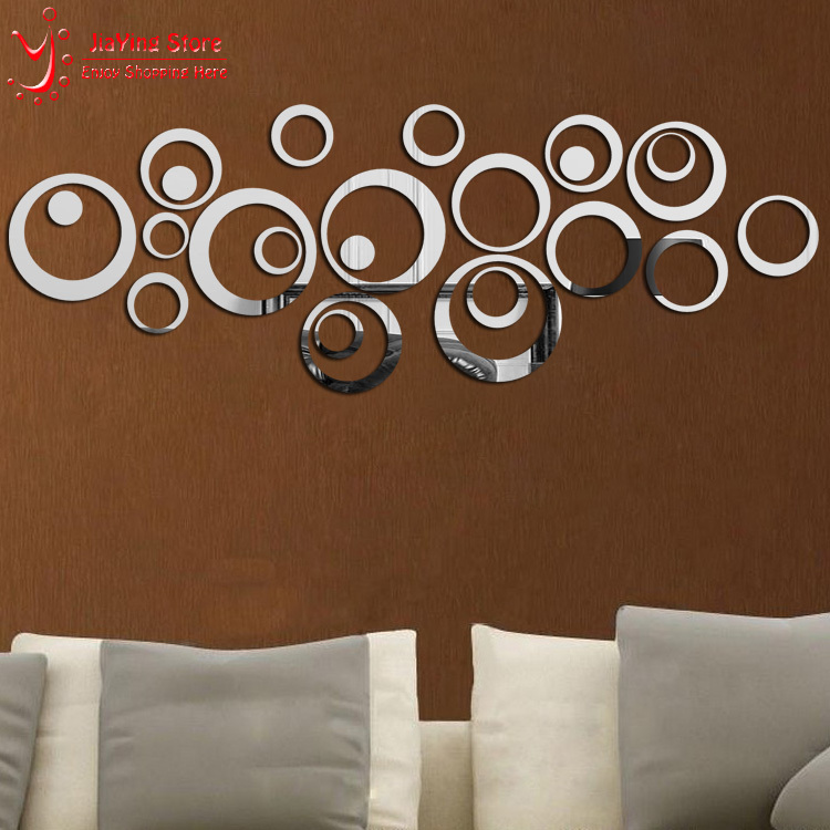 New 2015 Hot Sale Ring Real Modern Acrylic Mirror 3D Wall Stickers Promotion Home Decoration Background Decor Free Shipping(China (Mainland))