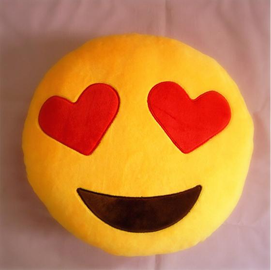 Hot Sale Emoji Smiley Heart Eye Emoticon Yellow Round Cushion Home Decorative Pillow Stuffed Plush Soft Toy Doll(China (Mainland))