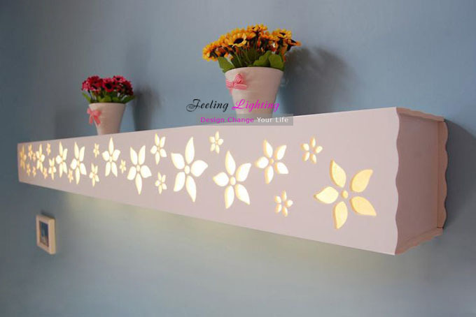 Free Shipping Discount Creative Fashion Modern Wood-plastic materials Wall Lamp 120cm flowers Wall Lamp<br><br>Aliexpress