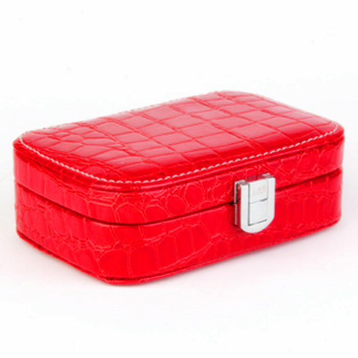 Leather Jewelry Box Lockable Travel Storage Case with Mirror Ladies Watch Earrings Rings Necklace Display Cosmetic Bag(China (Mainland))