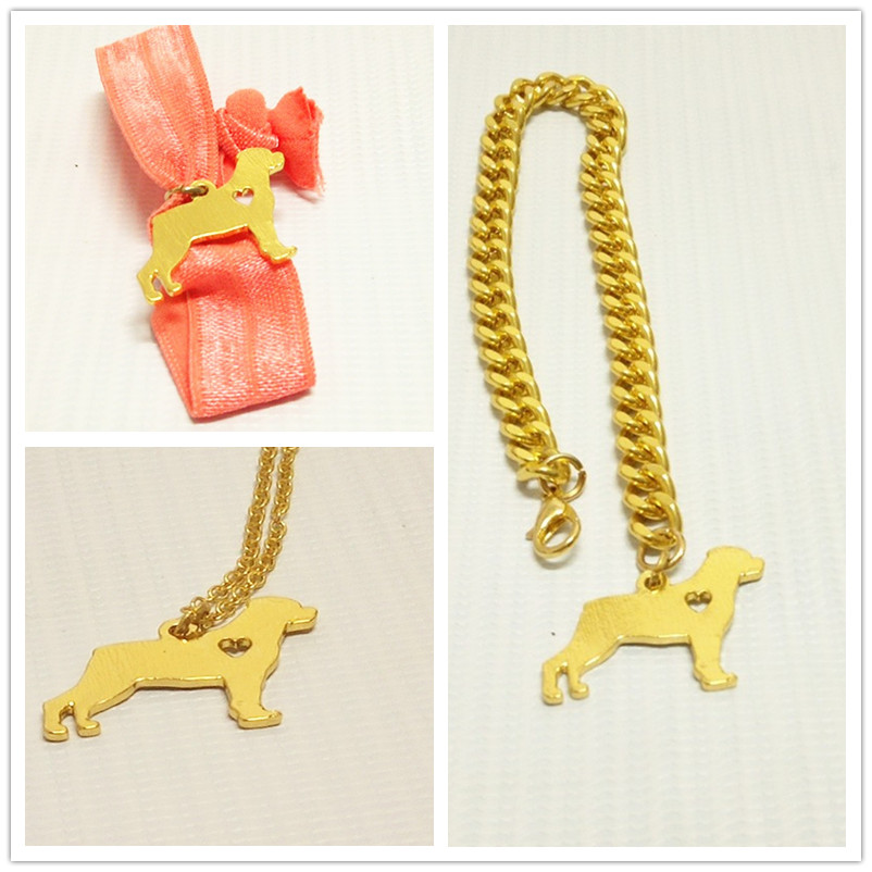 wholesale free shipping animal Gold plated  Rottweiler Necklaces bracelets Custom Dog Jewelry Breed Pet Personalized <br><br>Aliexpress