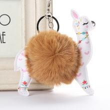Fofo Bola De Pêlo Bonito Alpaca Animais Chaveiro De Couro Chaveiro Charme Chaveiros Artificial Pele De Coelho Pompom Chave Cadeia Mulheres Jóias(China)