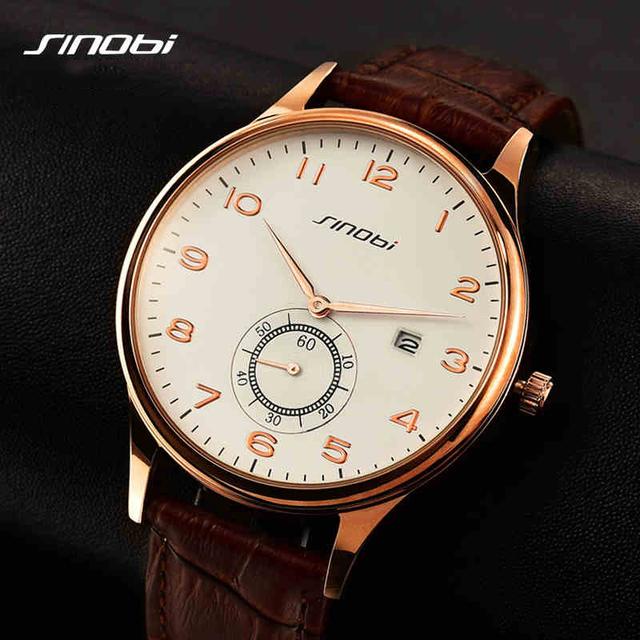 Простой классический бизнес кварцевые часы мужчины япония SINOBI марка кожаный свободного покроя наручные часы 2016 Relojes хомбре новый