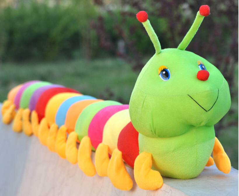 2015 hot Cute colorful caterpillar pillow 50cm Plush toys of cushion for leaning on Children Plush Toys(China (Mainland))
