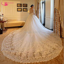 Fashion Design Ball Gown White Dress Wedding 3/4 Sleeve Bridal Dress With Lace Tulle Stunning robe de mariage(China (Mainland))