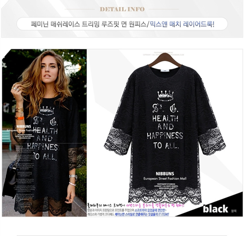 Free Shipping 2014 Spring European Style Cotton Lace Straight Dress Crown English Printing