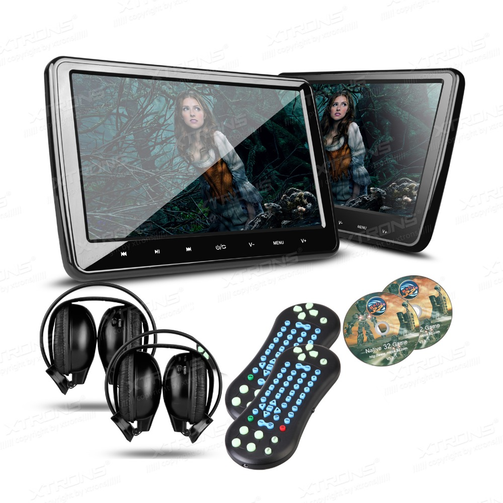"XTRONS 2pcs 10.1"" HD Digital TFT Screen Ultra-thin Design Touch Button Car Headrest DVD Player with HDMI Port +2x IR Heasphones(China (Mainland))"