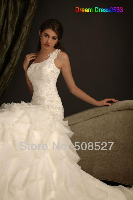 Vestido Casamento 2016 на заказ белый / слоновая кость аппликации из бисера оборками одно плечо свадебное платье невесты платья
