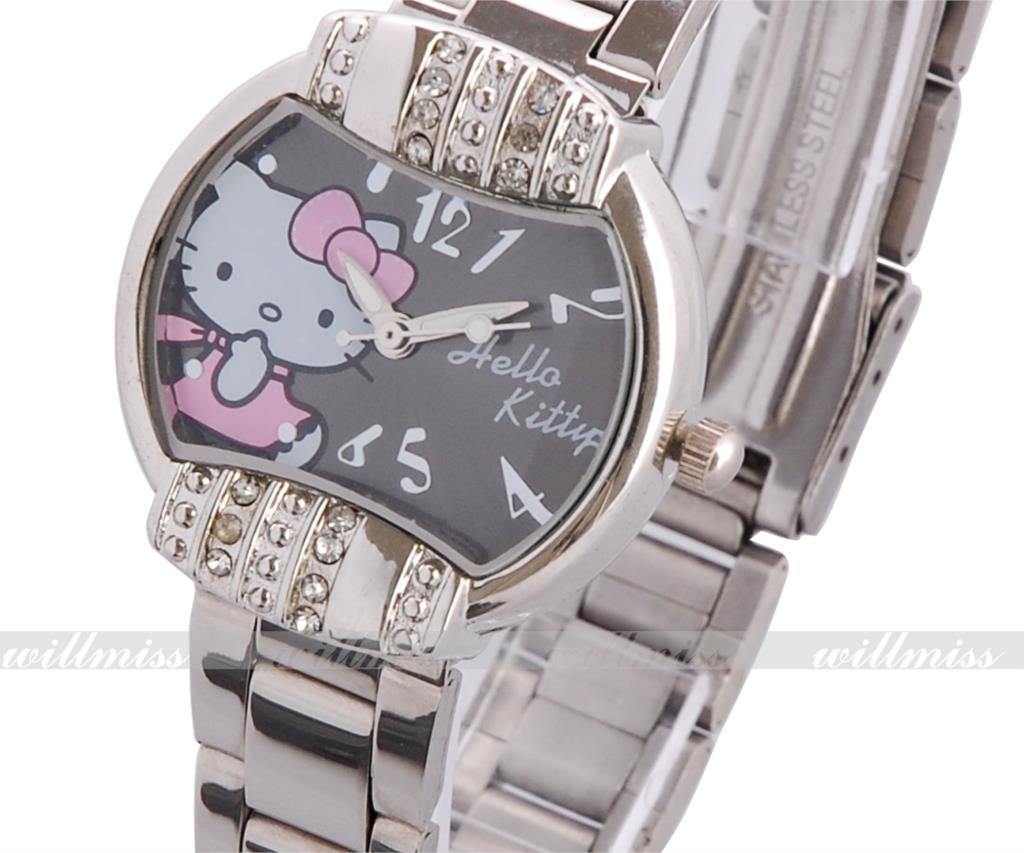Hello Kitty Lady Women Girl Jewel Fashion Quartz Battery Analog Stainless Steel Wrist Watch(China (Mainland))