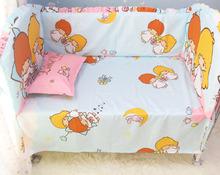 Promotion! 6PCS Cot Bumpers Sheet Baby Bedding Set 100% Cotton,Baby Crib Set Unpick(bumper+sheet+pillow cover)