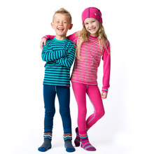 100% Merino wool kids thermal underwear set Children thin long johns boys girls From 1.5 to 14 years old