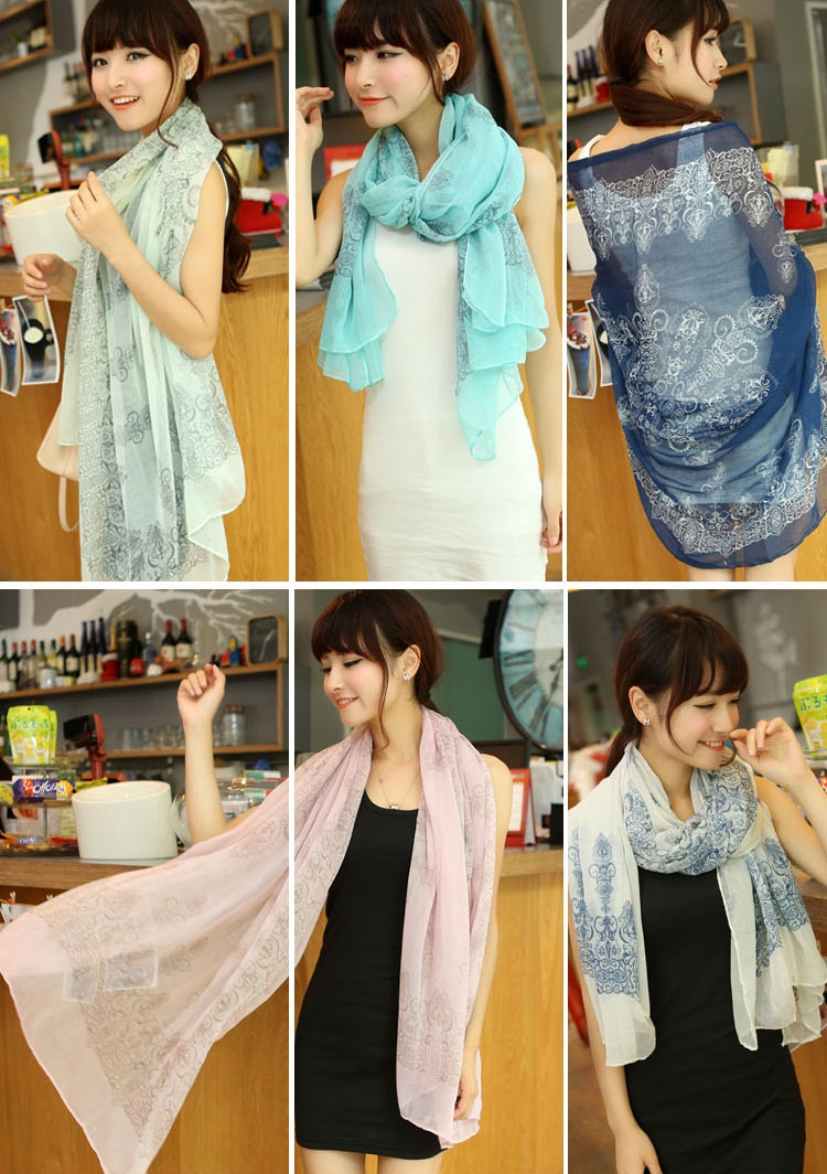 1pcs New Fashion 2015 High quality Blue and White Porcelain Style 160*70cm Thin Section the Silk Floss Women Scarf Shawl(China (Mainland))