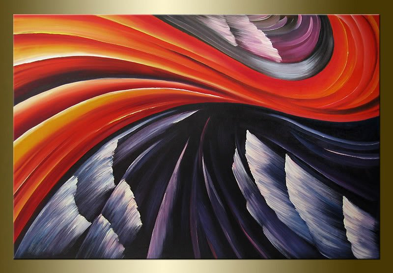 Hot sale artwork red abstract lines pure hand paint wall art Modern Landscape oil painting for sale housewarming gift(China (Mainland))