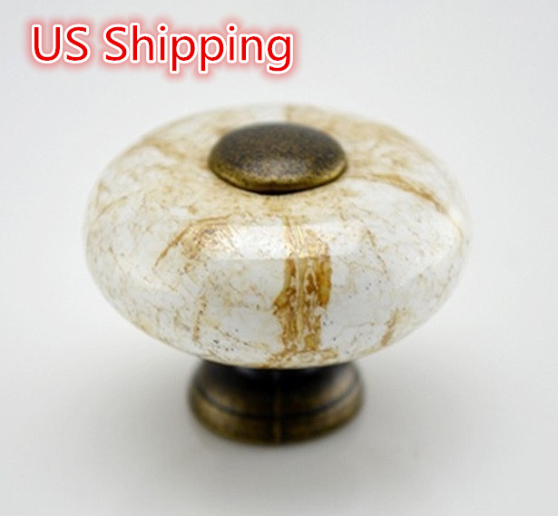 US Shipping Ceramic handle Dia.1.26 inch Height 1 inch crack patternFurniture Knob cabinet handle drawer handle antique brass(China (Mainland))