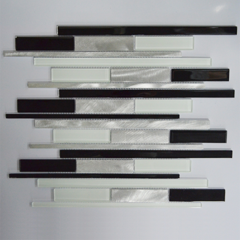 Black White And Silver Interlocking Metal Glass Mosaic Tile Kitchen Backsplash Mosaic Bathroom