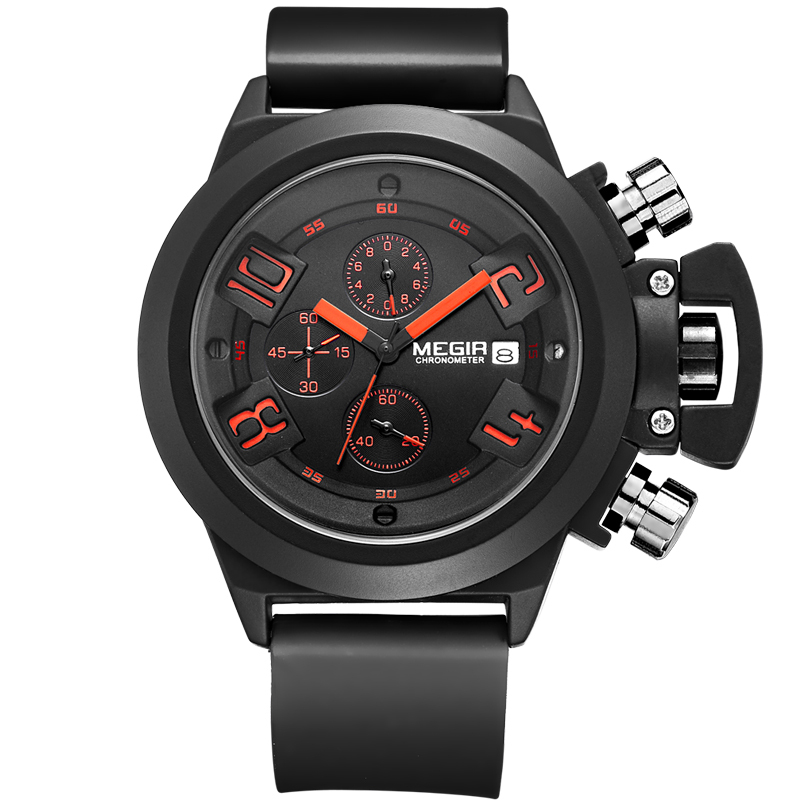 Megir Brand Black Silicone Military Watches Analog Display Date Chronograph Sport Watch Men Wristwatch relogio masculino(China (Mainland))
