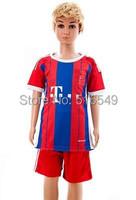 2014-2015 Home red #10 ROBBEN 7# RIBERY Jersey 14-15. kids youth boy soccer uniform , 14/15  Soccer shirt
