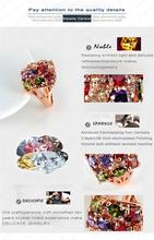 Colourful Crystal Ring 18K Rose Gold Plate Women Rings Decoration Jewelry 22 21mm Ri HQ0284