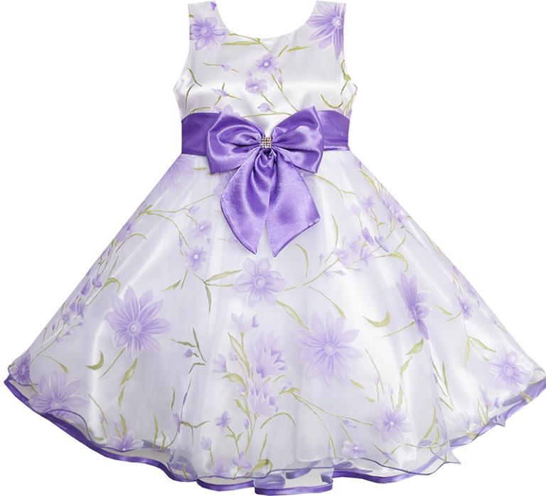 Гаджет  3 Layers Girls Dress Diamond Bow Tie Purple Girl Kids 2-10 None Детские товары
