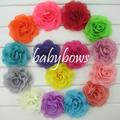 60pcs lot 3 5 Chiffon Silk Hair Flower Rosette Flowers Wedding Flowers For Girls Dressess Decoration