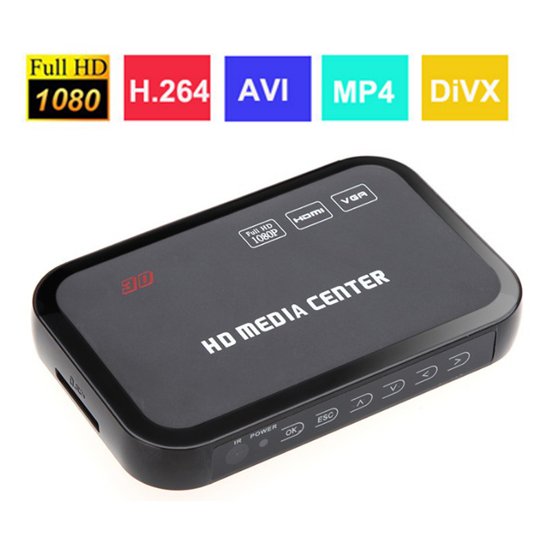 Media player 1080p Center HDMI YPbPr VGA AV USB SD/MMC Port hd media player USB HDMI Multi TV Videos Player Box Remote Control(China (Mainland))