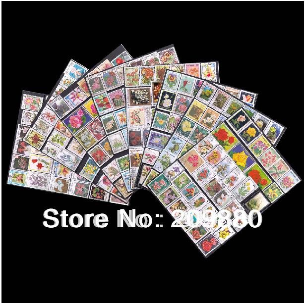 Не повторять! 300 шт./упак., Цветы почтовая марка с почтовым штемпелем, Коллекции марок для розы, Хризантемы, Орхидеи