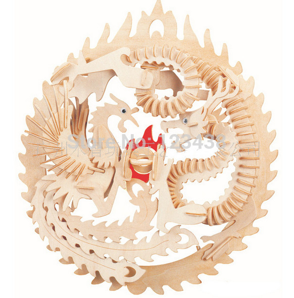 Educational Toys Dragon and Phoenix Wooden Miniature Model Assembling DIY 3d Puzzle(China (Mainland))