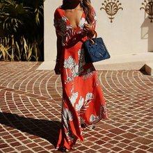 Lipswag 2XL סקסי פרחוני הדפסת חוף מקסי שמלת נשים 2019 קיץ V-צוואר קצר שרוול Boho שמלות אלגנטי ארוך מפלגה שמלה femme(China)