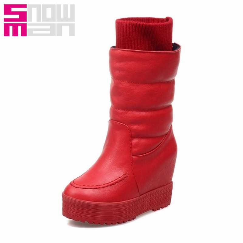 Brand 2015 Wool Knit Shaft Snow Boots for Lady's Hidden Wedges Platform Snow Shoes Warm Winter Boots Brand Style Winter Shoes