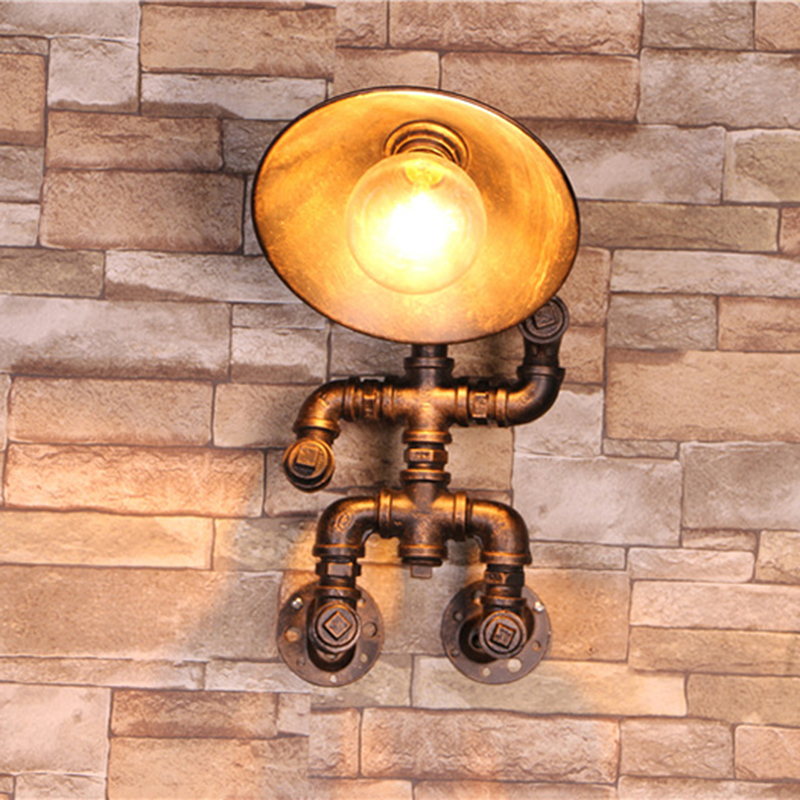 Vintage water pipe Wall lamp Loft warehouse Wall light lamparas de pared copper Industrial retro luxury wall sconce lights(China (Mainland))