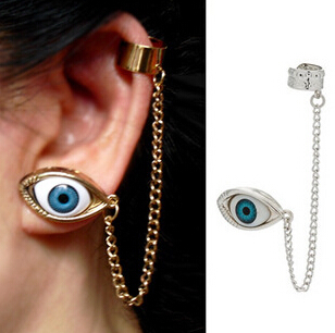 12pcs New 2015 Fashion Punk Tassels EYE Eyes ear cuff for Women/Girl's jewelry gifts cool chain link contact clip earring(China (Mainland))