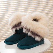 Imitación de piel de zorro mujeres nieve botas de gamuza botas de invierno femenina caliente sexy de color rosa zapatos de las mujeres 969 35(China (Mainland))