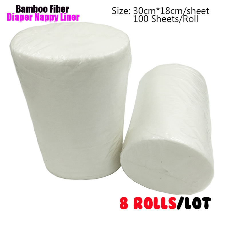 (8 Rolls/lot) Bamboo Fiber Nappy Liners Disposable Cloth Diaper Liner Stocklot Biodegradable Inserts Napkin 100 Sheets/Roll