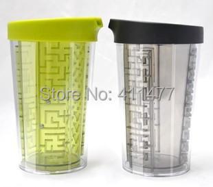 Labyrinth Double Insulated Cup Maze Drinking Mug Anti-scald EMS Wholesale(China (Mainland))