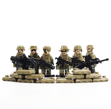 6pcs/lot SWAT Military Riot Special Weapons and Tactics Mini Figure Super Hero Kid Baby Toy Blocks Sets Model Minifigures Brick