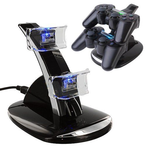 Black Crystal Blue Light Dual 2 Double USB Charger Charging Station Dock Stand Base For PlayStation 3 PS3 PS 3 Game Controller(China (Mainland))