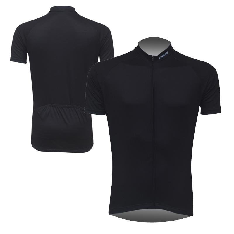 Mens Solid Black Cycling Jersey Garments Bike Riding Short Sleeve Tops Shirt Uniforms Brief Design Hot Sale