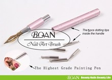 1 Piece Free Shipping BQAN New Design Nail Brush Pink Handle For Painting With 5pc Tips Insided Drawing Brushes(China (Mainland))