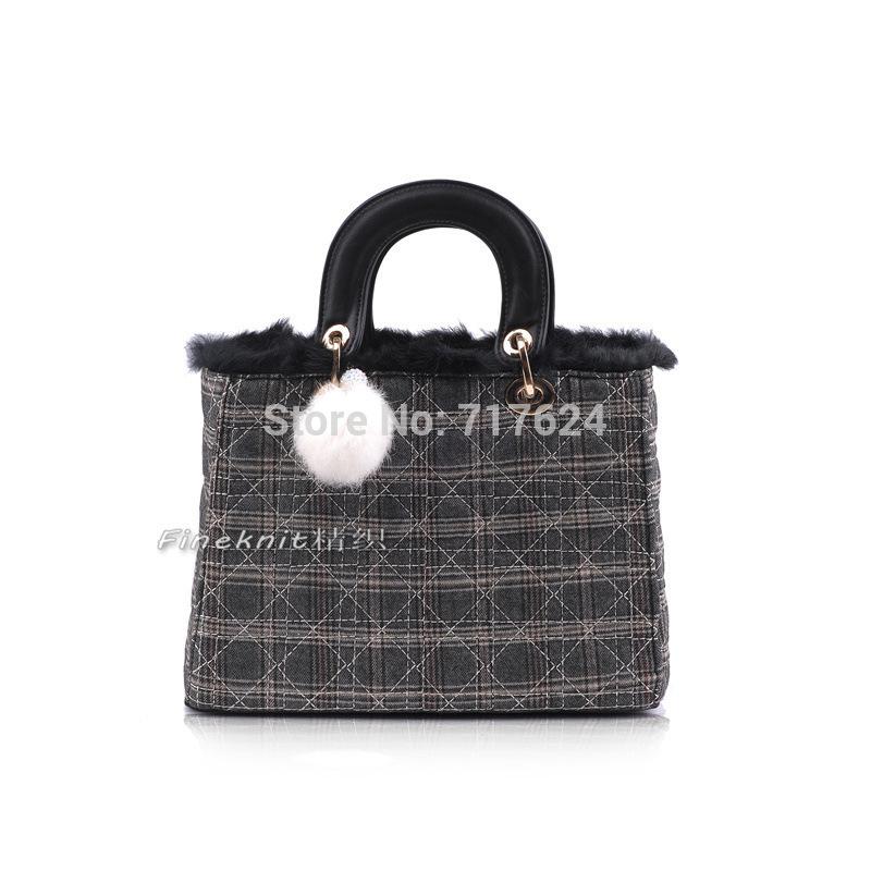 Hot new famous designers women rabbit fur handbags feather messenger bags girls shoulder bag cell phone purses bolsas(China (Mainland))