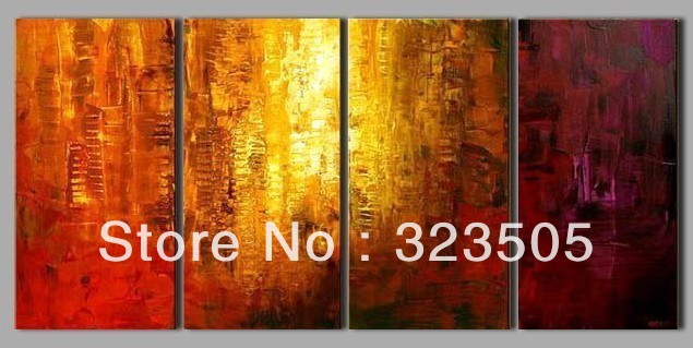 4 panel canvas wall art acrylic paints golden oil paintings canvas free shipping to UK Germany Russia USA(China (Mainland))