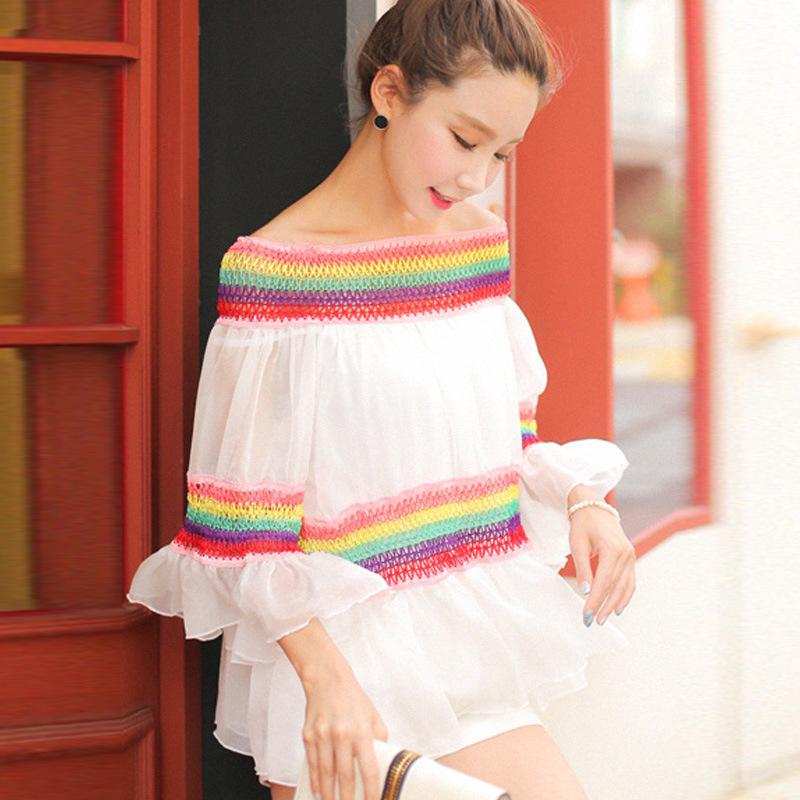 2016 Summer Korean version of the new sexy rainbow collar loose horn sleeve chiffon tops wild(China (Mainland))
