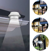 3 LED Solar Powered Fence Gutter Light Outdoor Garden Yard Wall Pathway Lamp White Bracket
