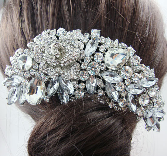 Fashion Bridal Hair Accessories Wedding Hair Comb Rhinestone Crystal Rose Flower Hair Comb Bridesmaid Jewelry(China (Mainland))