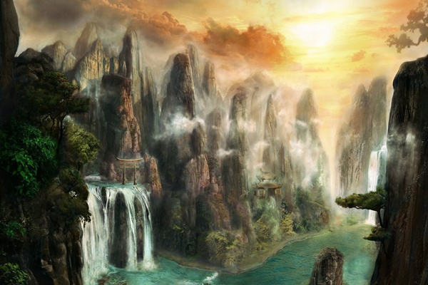 digital art fantasy art nature mountain landscape waterfall trees <font><b>Asian</b></font> 4 Sizes <font><b>Home</b></font> <font><b>Decoration</b></font> Canvas Poster Print