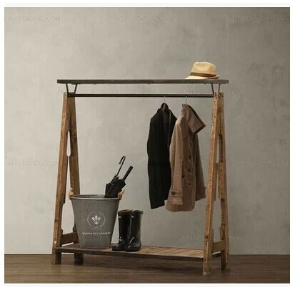 LOFT book Zhuo industrial iron hanger American country nostalgic retro furniture wood wardrobe hangers(China (Mainland))