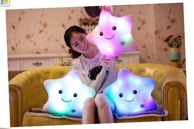 15PCS/LOT NEW lovely Battery Powered Decorative Flashing LED Light Plush Pink Smiling Star/Bear's paw/I LOVE YOU Cushion Pillow(China (Mainland))
