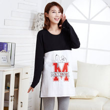 2015 Spring New brand long sleeve breast feeding shirt cotton printed blouses for pregnant o-neck breastfeeding clothes F435(China (Mainland))