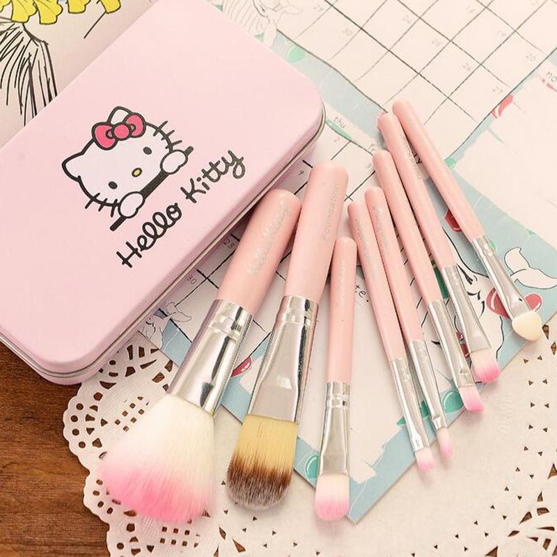 Hello Kitty cute maquillaje 1 set eye shadow, blush, foundation, eyebrow brush, lip brush makeup brushes Pouch box CCS1280(China (Mainland))